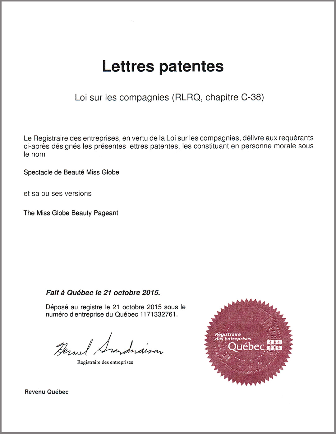 The Miss Globe  Beauty Pageant ®  Patent